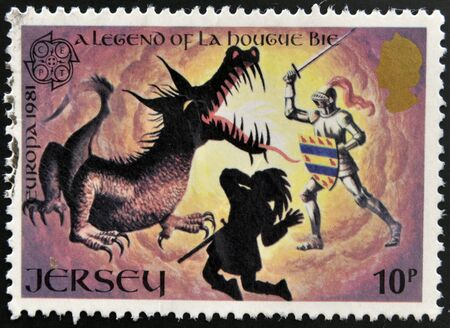 JERSEY - CIRCA 1981: Stamp printed in Jersey shows A legend of La Hougue Bie, circa 1994 photo