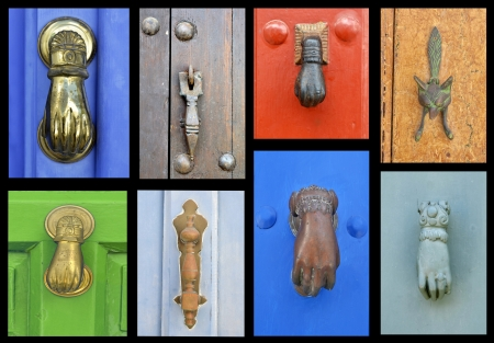 collection of old door knockers  photo