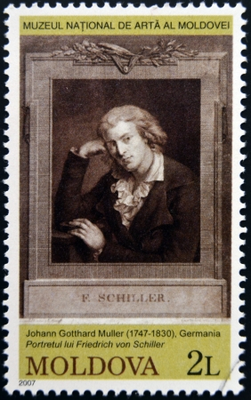 MOLDOVA - CIRCA 2007: Stamp printed in Moldova dedicated to works from the National Museum of Art, shows Friedrich von Schiller, circa 2007 Stock Photo - 19295149