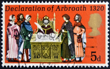 UNITED KINGDOM - CIRCA 1970: A stamp printed in United Kingdom shows the Declaration of Arbroath, circa 1970.  Stock Photo - 19296272
