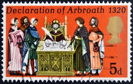 UNITED KINGDOM - CIRCA 1970: A stamp printed in United Kingdom shows the Declaration of Arbroath, circa 1970. Stock Photo - 19296272
