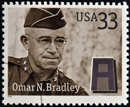omar: UNITED STATES OF AMERICA - CIRCA 2000: Stamps printed in USA dedicated to Military or Armed Forces shows Omar Nelson Bradley, circa 2000