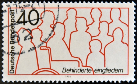 GERMANY - CIRCA 1974: A stamp printed in Germany dedicated to integration of disabled, circa 1974