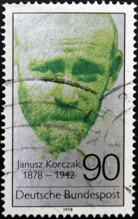 treblinka: GERMANY - CIRCA 1978: A stamp printed in Germany shows Janusz Korczak, circa 1978