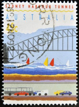 AUSTRALIA - CIRCA 1992  a stamp printed in Australia shows Sydney Harbor Bridge and Tunnel, circa 1992