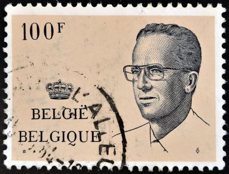 baudouin: BELGIUM - CIRCA 1984  A stamp printed in Belgium shows portrait King Baudouin  1930-1993 , circa 1984 Editorial