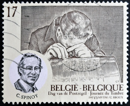 BELGIUM - CIRCA 1997  A stamp printed in Belgium shows Spinoy Constantin  1924-93  - graver, circa 1997