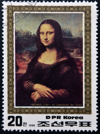 DPR KOREA - CIRCA 1986  A stamp printed in North Korea shows painting  Monna Lisa  by Leonardo da Vinci, circa 1986