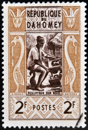 DAHOMEY CIRCA 1961  stamp printed in Dahomey shows Wood sculptor, circa 1961