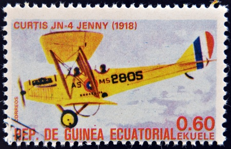 EQUATORIAL GUINEA - CIRCA 1974  A stamp printed in Guinea dedicated to history of aviation shows Curtiss JN-4  Jenny , 1918, circa 1974