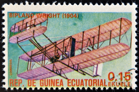 EQUATORIAL GUINEA - CIRCA 1974  A stamp printed in Guinea dedicated to history of aviation shows Wright brothers