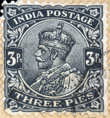 indian postal stamp: INDIA - CIRCA 1934: A stamp printed in India shows King George V, circa 1934