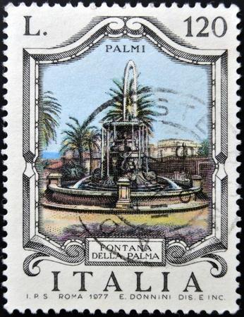 ITALY - CIRCA 1977: a stamp printed in Italy shows Palm Fountain, Palmi, circa 1977