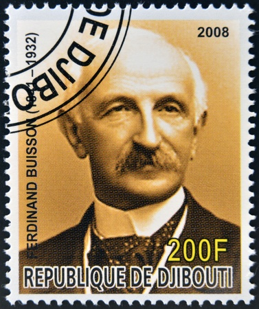 nobel: DJIBOUTI - CIRCA 2008:  stamp printed in Djibouti dedicated to Nobel Peace prizes French shows Ferdinand Buisson, circa 2008