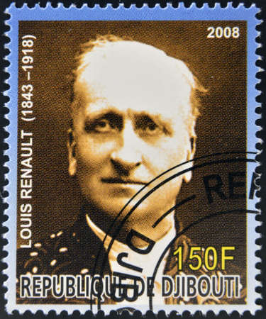nobel: DJIBOUTI - CIRCA 2008:  stamp printed in Djibouti dedicated to Nobel Peace prizes French shows Louis Renault, circa 2008  Editorial