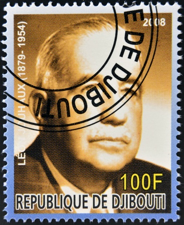 nobel: DJIBOUTI - CIRCA 2008:  stamp printed in Djibouti dedicated to Nobel Peace prizes French shows Leon Jouhaux, circa 2008