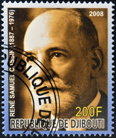 nobel: DJIBOUTI - CIRCA 2008:  stamp printed in Djibouti dedicated to Nobel Peace prizes French shows Rene Samuel Cassin, circa 2008