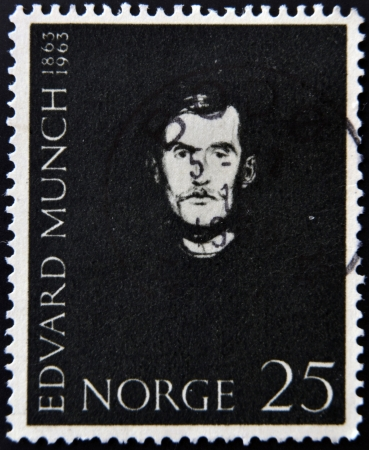 munch: NORWAY - CIRCA 1963: A stamp printed in Norway shows Portrait of Edvard Munch, circa 1963  Editorial
