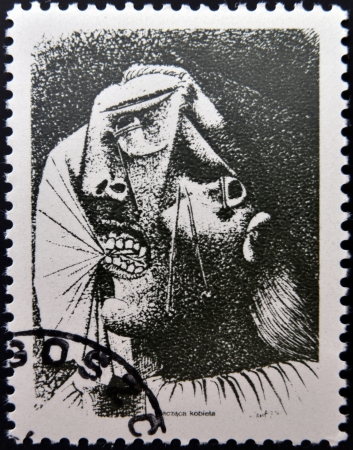 printmaker: POLAND - CIRCA 1981: A stamp printed in Poland shows  A Crying Woman by Pablo Picasso, circa 1981