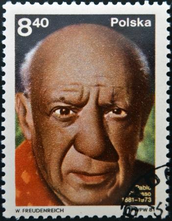 ceramicist: POLAND - CIRCA 1981: A stamp printed in Poland shows Pablo Picasso (1881-1973), artist, circa 1981