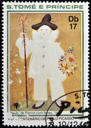 ceramicist: SAO TOME AND PRINCIPE - CIRCA 1981: A stamp printed in Sao Tome shows Paul Pierrot with flowers, circa 1981