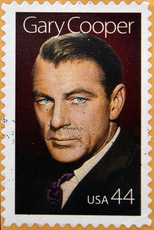 cooper: UNITED STATES OF AMERICA - CIRCA 2009: a stamp printed in USA showing an image of Gary Cooper, circa 2009.  Editorial