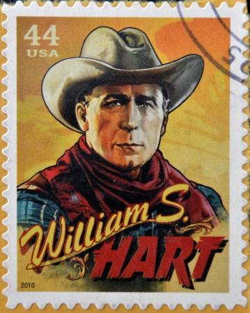 screenwriter: STATI UNITI D'AMERICA - CIRCA 2010: timbro stampato in USA mostra silenziosa attore di film di William S. Hart, intorno al 2010 Editoriali