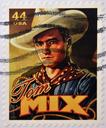 silent film: UNITED STATES OF AMERICA - CIRCA 2010: Stamp printed in USA shows silent film actor Tom Mix, circa 2010  Editorial