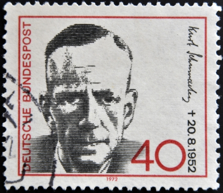 GERMANY - CIRCA 1972: a stamp printed in Germany shows Kurt Schumacher, Politician, circa 1972