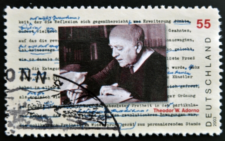 theodor: GERMANY- CIRCA 2003: stamp printed in Germany shows Theodor Adorno, Philosopher, circa 2003 Editorial
