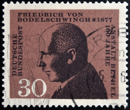 incurable: GERMANY - CIRCA 1967: a stamp printed in Germany shows Friedrich von Bodelschwingh, Manager of Bethel Institution for the Incurable, circa 1967