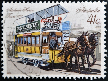 AUSTRALIA - CIRCA 1989: A stamp printed in Australia shows Adelaide horse tram, 1878, circa 1989  photo