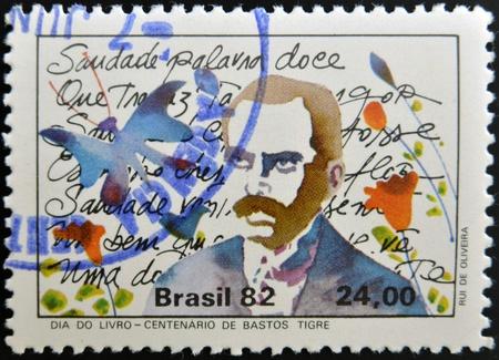 tigre: BRAZIL - CIRCA 1982: A stamp printed in Brazil dedicated to Book Day, shows Bastos Tigre, circa 1982 Editorial