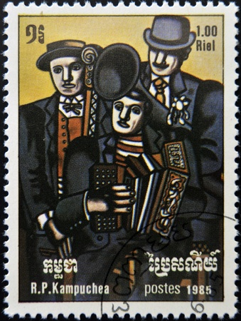 leger: CAMBODIA - CIRCA 1985: A stamp printed in Cambodia shows Three Musicians by Ferdinand Leger, circa 1985