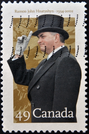 CANADA - CIRCA 2002: A stamp printed in Canada shows Ramon John Hnatyshyn Stock Photo - 19651706