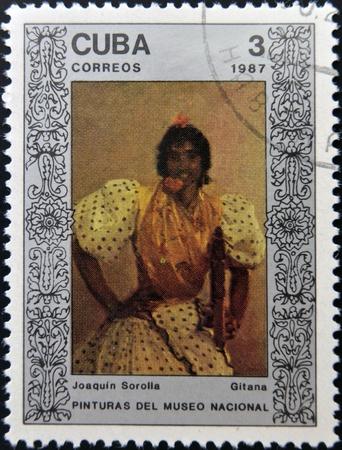 sorolla: CUBA - CIRCA 1987: A Stamp printed in Cuba shows the painting Gypsy by Joaquin Sorolla, circa 1987