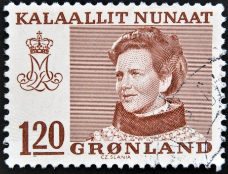 GREENLAND - CIRCA 1973: A stamp printed in Greenland shows Queen Margrethe II of Denmark, circa 1973
