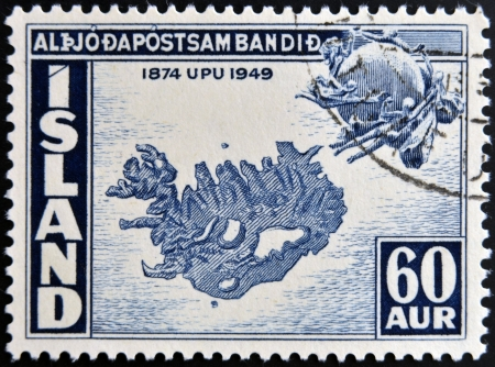ICELAND - CIRCA 1949: A stamp printed in Iceland shows map of Iceland, circa 1949  photo