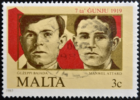 MALTA - CIRCA 1985: A stamp printed in Malta shows Guzeppi Bajada and Manwell Attard, circa 1985