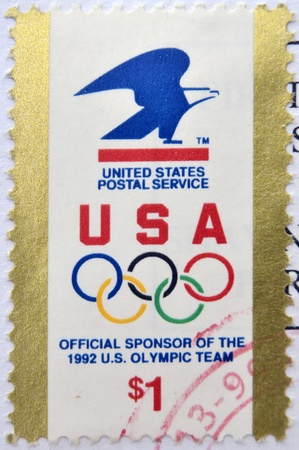 usps: UNITED STATES OF AMERICA - CIRCA 1992: A stamp printed in USA devoted USPS - official sponsor of the 1992 US Olympic team, circa 1992
