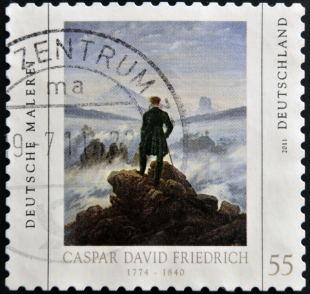 caspar: GERMANY - CIRCA 2011: A stamp printed in Germany shows a picture of Wanderer above the Sea of Fog by Caspar David Friedrich, circa 2011  Stock Photo