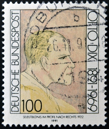 printmaker: GERMANY - CIRCA 1991: A stamp printed in Germany shows Otto Dix, circa 1991