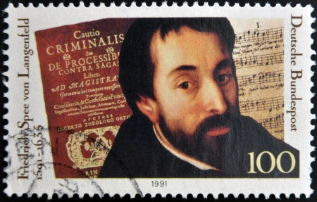 friedrich: GERMANY - CIRCA 1991  A stamp printed in Germany shows Friedrich Spee von Langenfeld, circa 1991