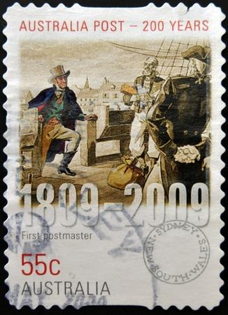 AUSTRALIA - CIRCA 2009   a stamp printed in Australia dedicated to first postmaster, australia post 200 years, circa 2009