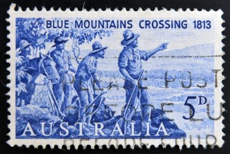lawson: AUSTRALIA - CIRCA 1963  A stamp printed in Australia shows Explorers Blaxland, Lawson and Wentworth Looking West from Mt  York, circa 1963