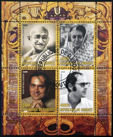 nonviolent: DJIBOUTY - CIRCA 2009  A stamp printed in Djibouty dedicated to family Gandhi, circa 2009 Editorial