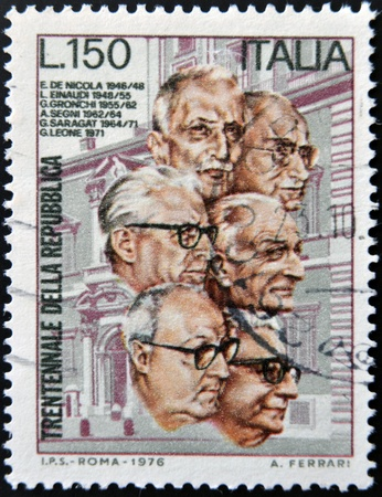 ITALY - CIRCA 1976: stamp printed in Italy shows Italian presidents, circa 1976  Stock Photo - 19993925