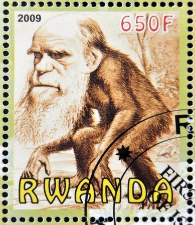 RWANDA - CIRCA 2009:  stamp printed in Rwanda dedicated to Charles Darwin, circa 2009