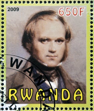 RWANDA - CIRCA 2009:  stamp printed in Rwanda dedicated to Charles Darwin, circa 2009  Stock Photo - 19994969