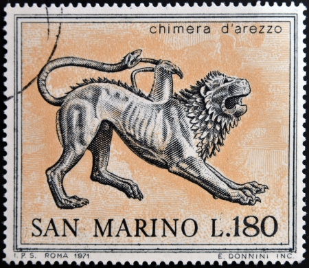 chimera: SAN MARINO - CIRCA 1971: A stamp printed in San Marino dedicated to ancient Etruscans, shows Chimera from Arezzo, circa 1971